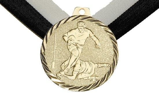 Medaille Rugby, 50mm inkl. Band, zzgl. Beschriftung