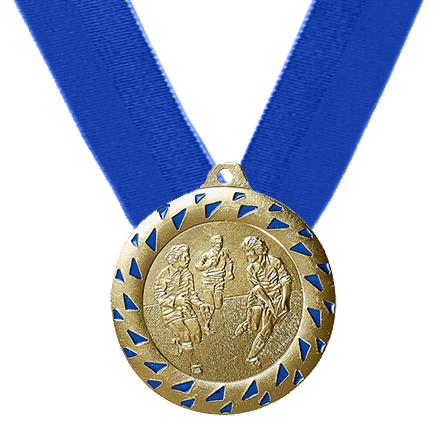 50mm Rugbymedaille inkl. blauem Band